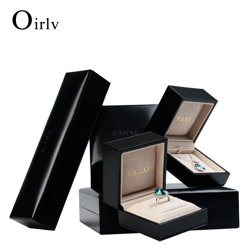 Oirlv Custom Logo Black PU Leather jewellery packing boxes with suede insert Bracelet Necklace Gift packaging Luxury Jewelry Box