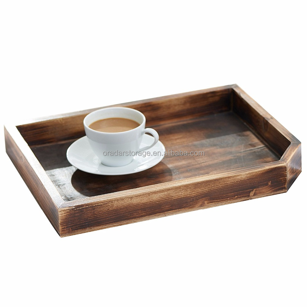 Vintage Wooden Coffee Table Display Tray / Wood Magazine and Document Holder