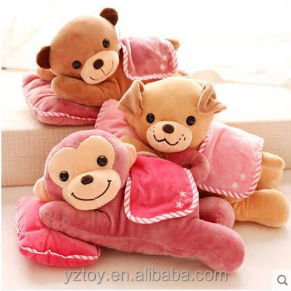 30CM 1 piece kawaii Sleep Lying On Front monkey dog bear baby kids pillow cushion animals stuffed Christmas gift