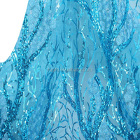 Aso ebi styles 2016 african lace fabrics high quality 5 yards korea lace fabric sequins french lace teal blue for wedding