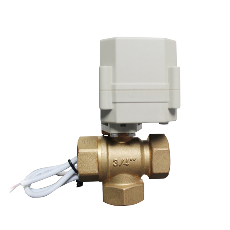 3/4 inch 3 Way Brass Mini Water Air Electric Ball Valve