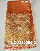 Fashion gold African lace fabric silk george