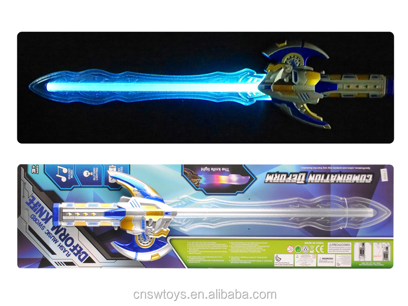 DJ2602052 Hot sale low price top quality flash music sword deform knife with clourful light
