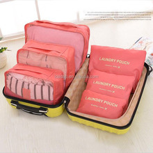 Portable Polyester Luggage travelling bag foldable Underwear Organizer 6 Set fancy Travel Storage Bag