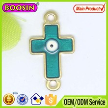 New fashion matte gold plated cross evil eyes charm #B0048