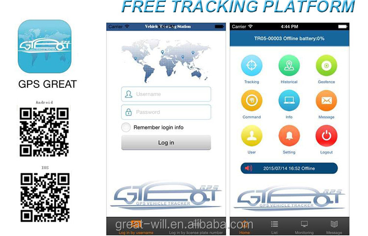 Android platform Live tracking free ios gps gsm car tracker app