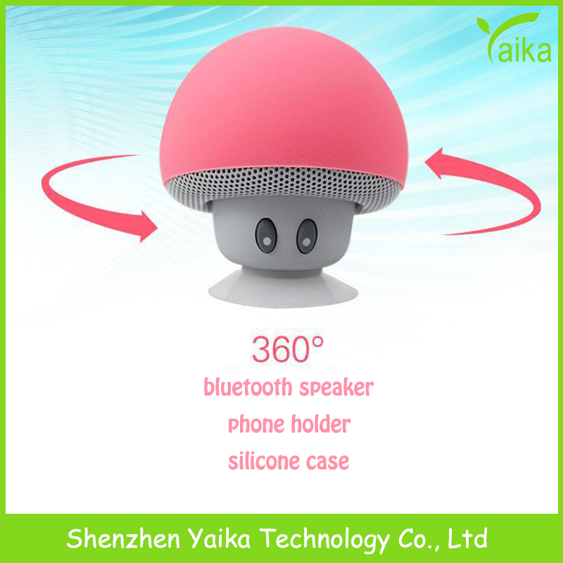Yaika mini Portable cute mushroom bluetooth speaker Electronic Funny gift phone holder 360 degree silicone case music Speaker