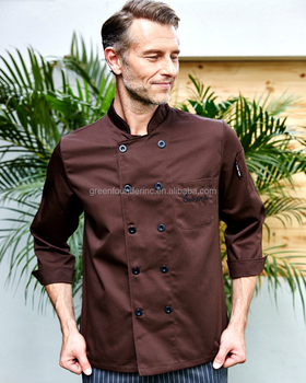 High Quality Coffee Color Men's Chef Coat Chef Jacket Supply