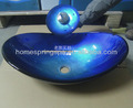 2013 HS-7012B blue real oval hand painted glass wash basin