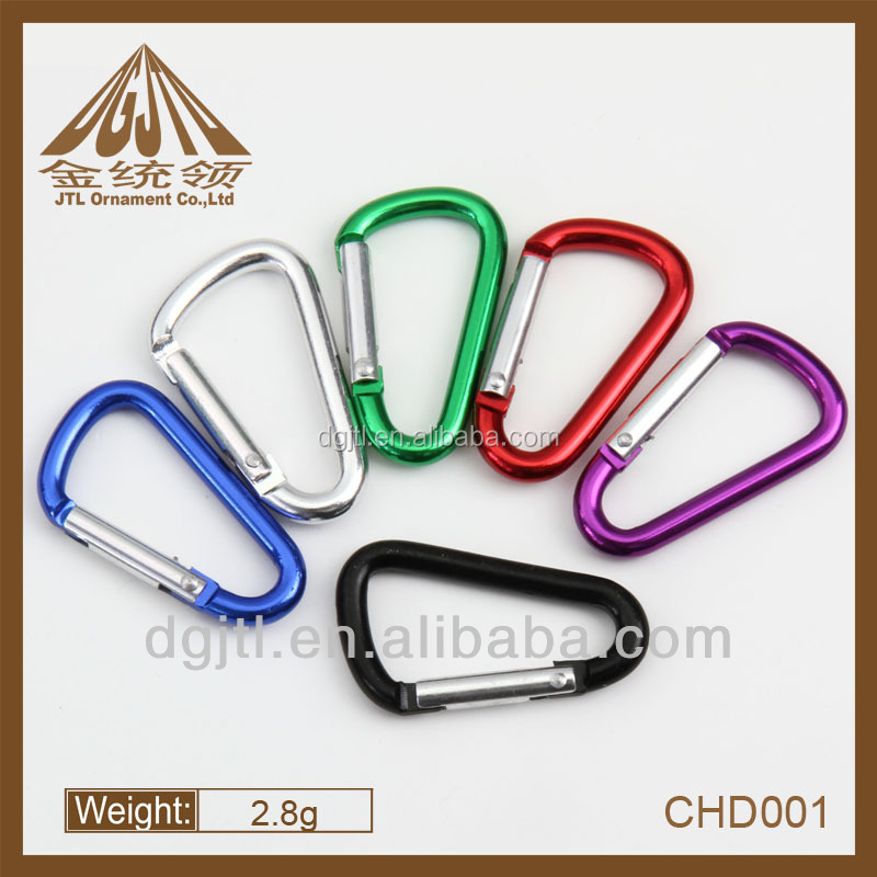 Aluminum D shaped Karabiners in Assorted Colors
