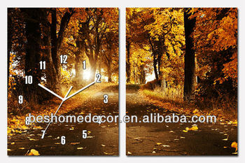 Autumn fall forest canvas paintings wall clocks,home deco MDF wood wall clock