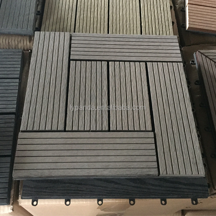 Anti-UV and Fireproof WPC Outdoor Grooved Decking Board 300x300 Floor Tile