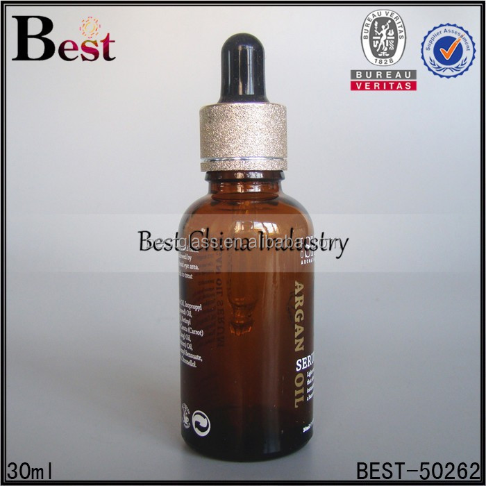1oz amber glass serum oil bottle with golden collar and black dropper, free sample, OEM printing service, bulk perfume oil 2015