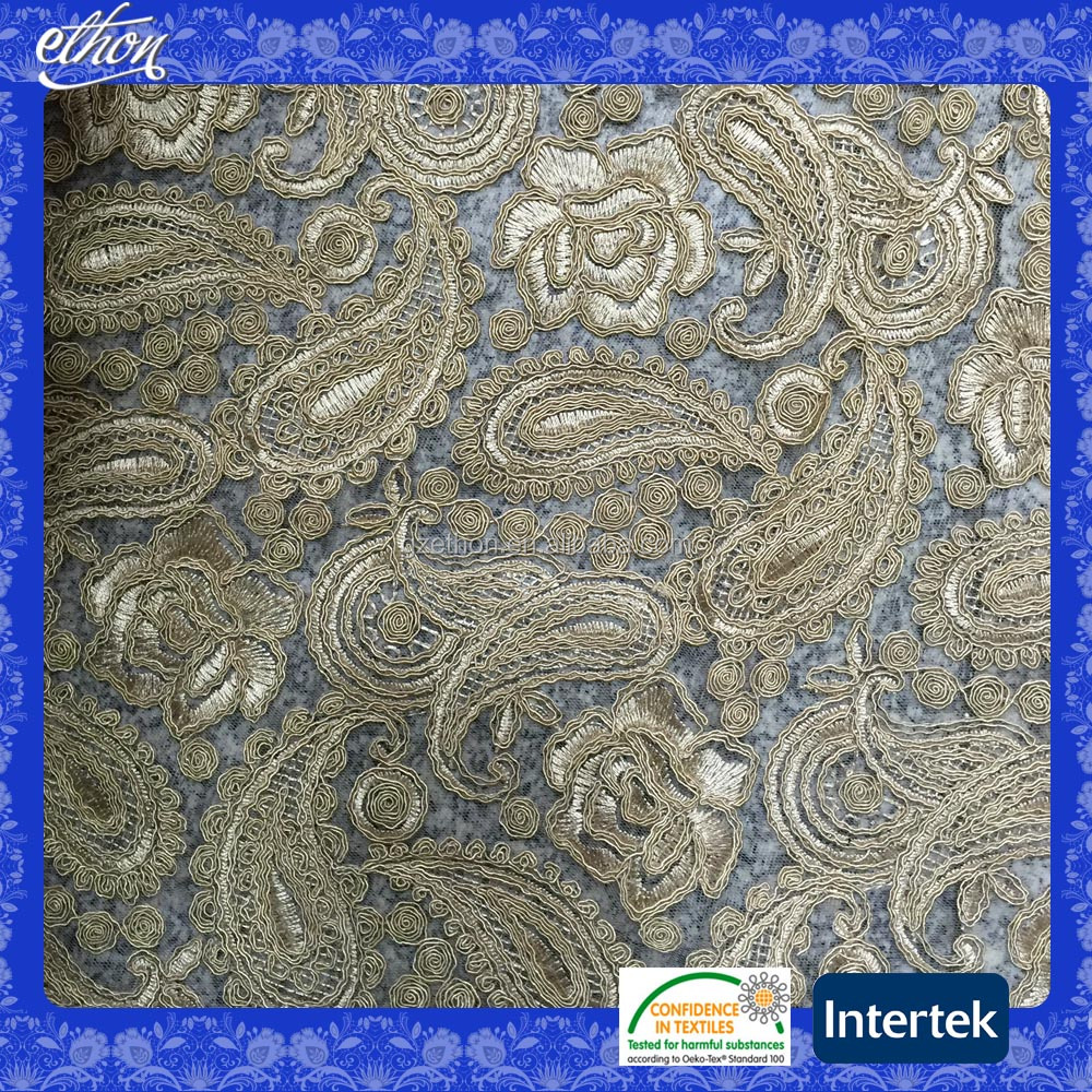2016 newest high end gold color handwork embroidery African net mesh lace embroidery fabric for wedding dress