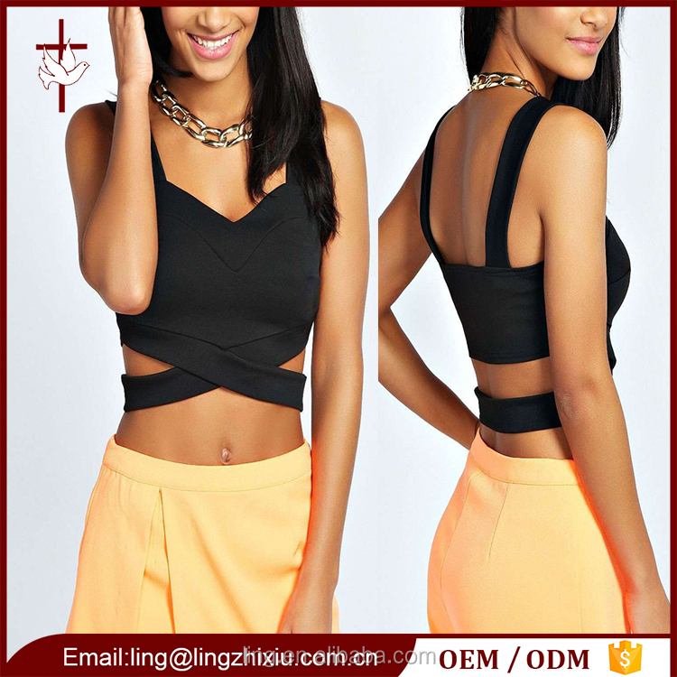 Women Clothes Wide Cut Straps Cross Over Ladies New Design Fashion Top