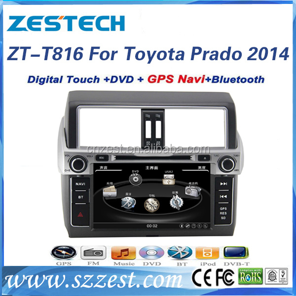 car dvd player with reversing came for Toyota Prado 120 2014 car DVD player gps radio dvd cd mp3/4 bluetooth SWC 10 disc AM/FM