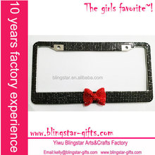 black & red middle bow canada rhinestone license plate frame