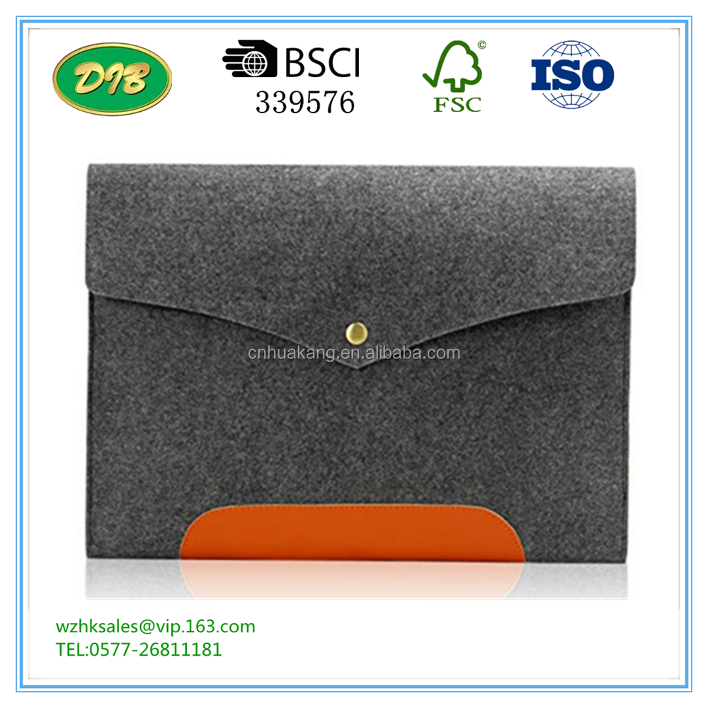 Gray Felt & Leather Case Sleeve Pouch Handmade Laptop Bag cover foTransformer Book Notebook Holder Pouch with Magnetic Button
