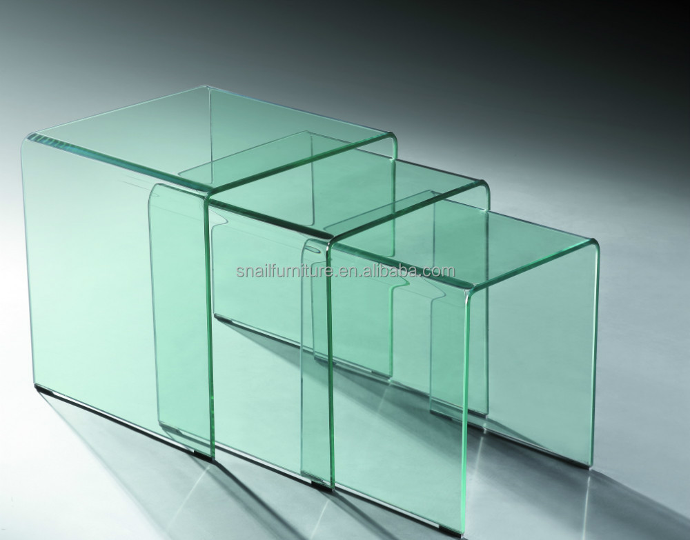 small space save functional modern temerped bent curved glass side table coffee table decoration home furniture