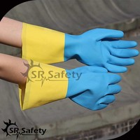 SRSAFETY women used household cleaning long blue and yellow safety rubber gloves