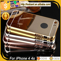Cell phone PC mirror aluminium metal bumper back case cover for apple iphone 4 4s