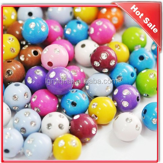 Wholesale Colorful Acrylic Bead With Rhinestone