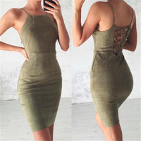 Sexy Retro Sheath Bodycon Bandage Sundress 2017 Women Black Evening Party Club Backless Hollow Out Spaghetti Strap Summer Dress