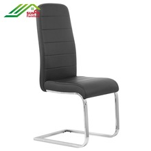 Modern High quality Pu line leather black chair with chrome square tube leg for dining room