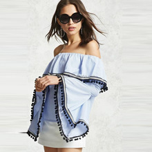 NS0228 summer ladies fashion off-shoulder trumpet sleeves tops ladies beautiful blouses for women