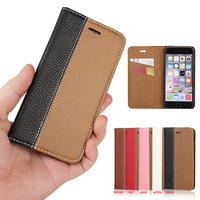 2016 New Design Colorful Wood Pattern Flip PU Leather Wallet Stand Cover Case For iPhone 6 6s