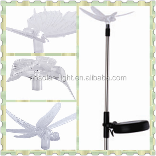 hummingbird, butterfly and dragonfly solar