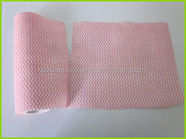 wave printed biodegradable spunlace non woven multi-purpose cleaning wipes/antibacterial cleaning cloths