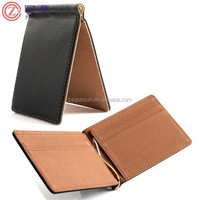 Saffiano Leather Mens Slim Wallet Money Clip Credit Card ID Card Holder