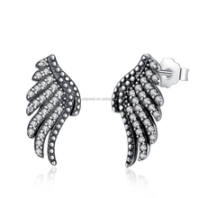 Angel's Wings Earrings 925 Sterling Silver Stub Earrings