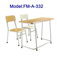 No.FM-A-332 Steel frame two seats student desk and chair set