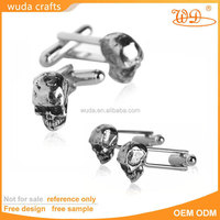 customized personalized alloy vintage silver skull cufflinks