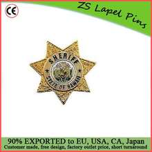 Custom top quality award gift safety pin back Sheriff Department Badge