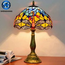 Dragonfly design table lamp with african style tiffany lamp power outlet
