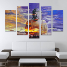 Handpainted Modern Art 5 Panel Buddha Abstract Oil Painting on Canvas
