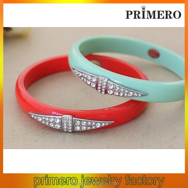 PRIMERO fashion crystal rhinestone hard plastic bangle bracelet