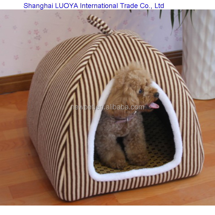Processing customized new coming stripe plush pet kennel custom dog house