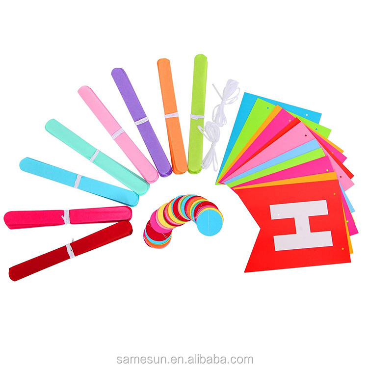 Rainbow Color Happy Birthday Paper Decoration Set