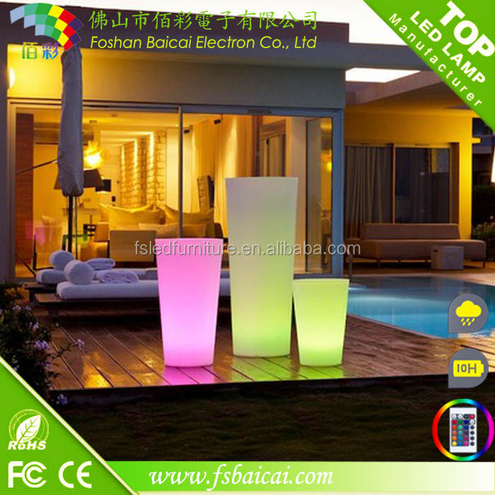 Solar LED garden flower vase/LED the plastic material pot for decoration