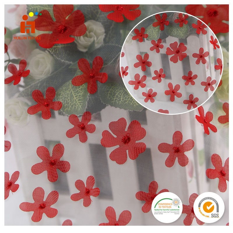 Embroidery red bridal dress fabric flower lace applique