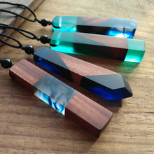 Personalized Art Pendant Long Sweater Chain Boutique Resin Wood Necklace Wholesale