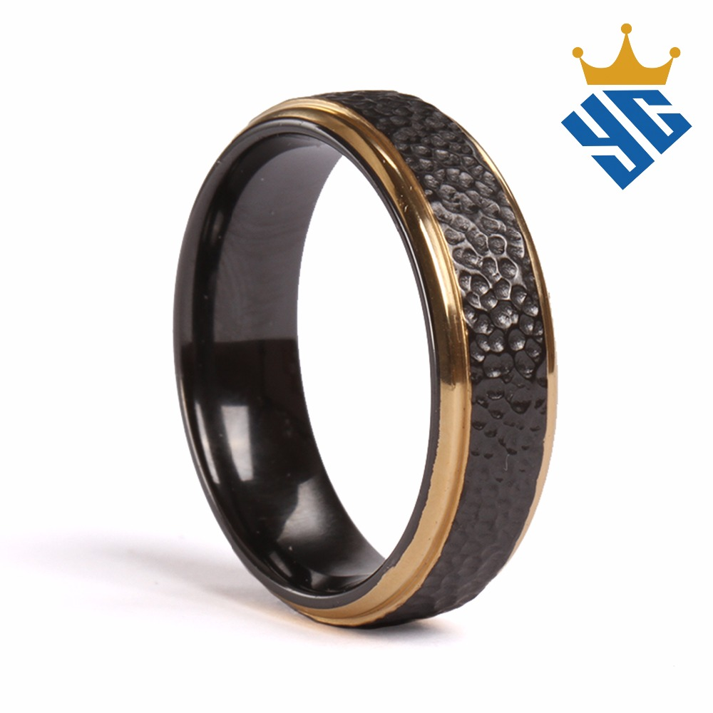 Two Tone Gold Plated Black Yellow Zirconium Ring Men's Jewelry Wedding Band