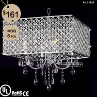 Modern Metal Pendant Light with Clear Crystal