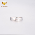New arrival european wedding rings crystal pave silver band ring