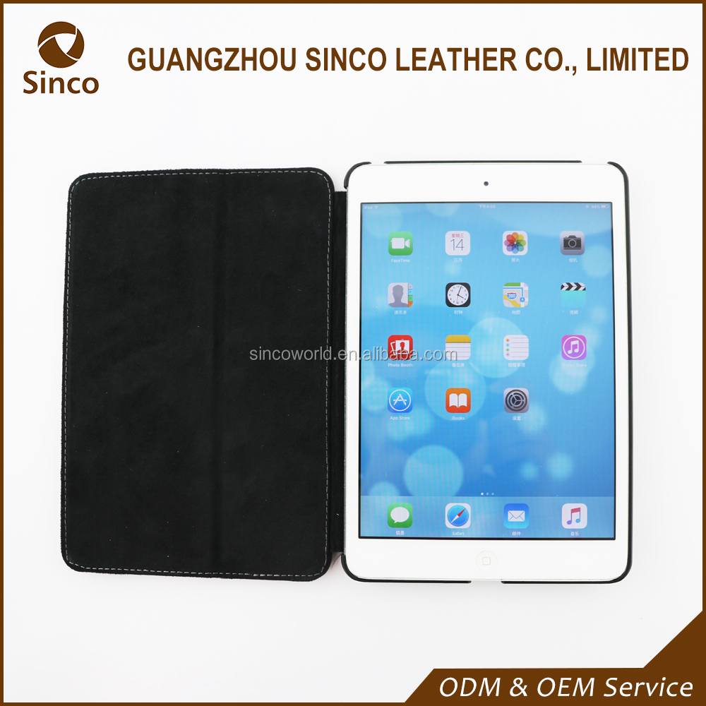 black back stand business geunine leather cover for ipad mini chinese supplier