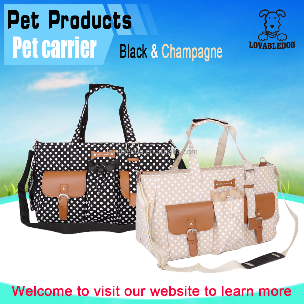 Wholesale high quality Elegance cheap vintage polka dots dog carrier,lovely soft pet carrier bag